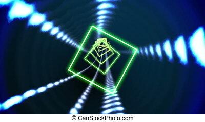 Square vortex design on black - Digital animation of Square...