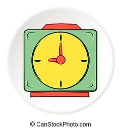 Square wall clock icon, cartoon style