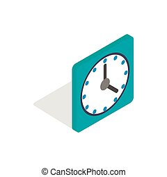 Square wall clock icon, isometric 3d style