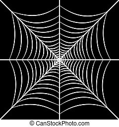 Square web illustration. Spiderweb isolated on black...