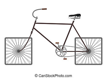 Silhouette of an old bicycle on square wheels.