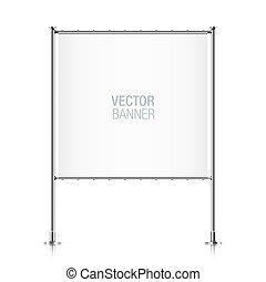 Square white banner.