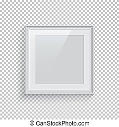 Square white picture or photo frame isolated on transparent background. Vector design element.