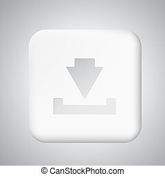 Square white plastic download button