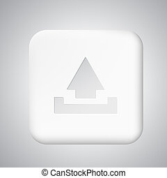 Square white plastic upload button