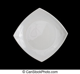 square white plate isolated on black background