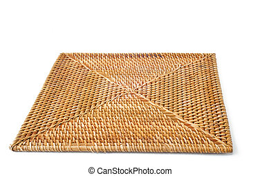 square wicker placemat - a wicker plate square on white...