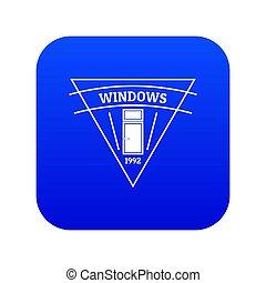 Square window icon blue