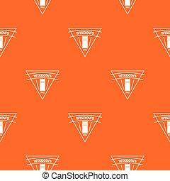Square window pattern vector orange