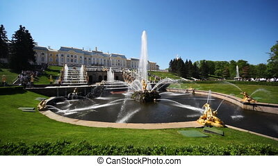 Square with fountain Samson in front of Royal Petrodvorets