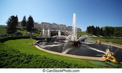 Square with fountain Samson in front of Royal Petrodvorets -...