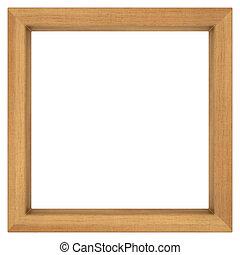 square wooden frame on white background