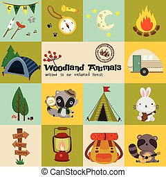 Square Woodland Animal Camping