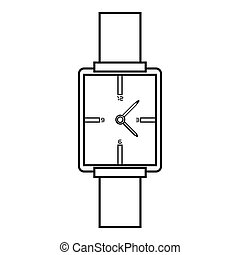 Square wristwatch icon, outline style