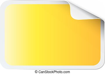 Square yellow sticker on white