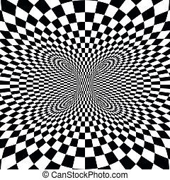 Black and white squares projection on torus. Vector illustration