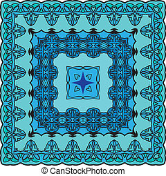 Squared background - ornamental floral pattern. Design for bandanna, carpet, shawl, pillow or cushion
