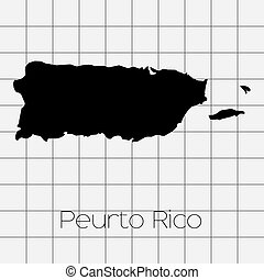 Squared Background with the country shape of Puerto Rico