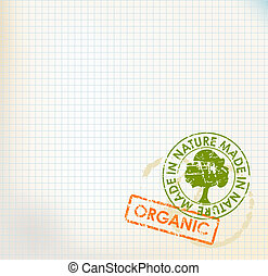 Squared paper with organic stamps - grunge bio/eco background