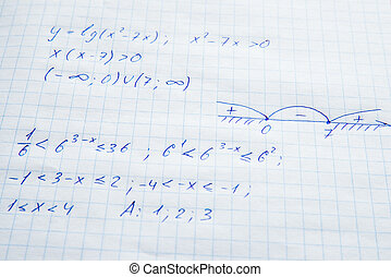 Squared sheet of paper filled with formulas