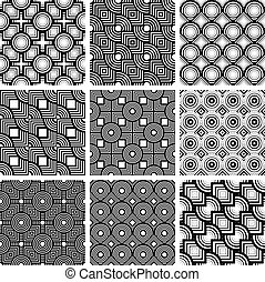 Squares and circles black and white geometric seamless patterns