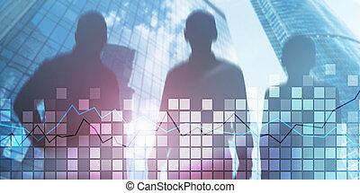Squares and stock market graph. Mixed media stock market 2.0