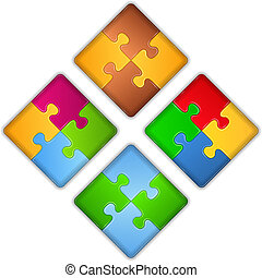 Squares made of puzzle pieces