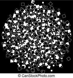 Squares on black background