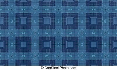 Squares on dark background - Blue squares moving on dark...
