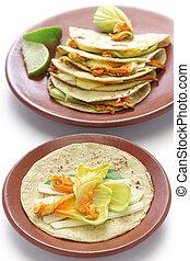 squash blossom quesadillas, Mexican