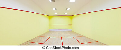 Squash court - Panorama shot for an Empty squash court
