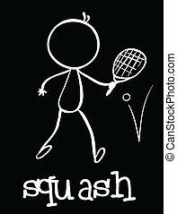 Squash - Illustration of a stickman playing squash