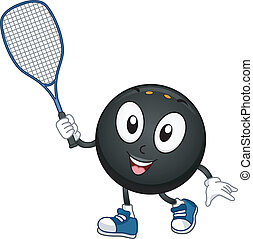 Squash Mascot - Mascot Illustration Featuring a Squash Ball...