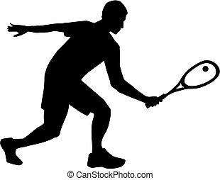 Squash player silhouette