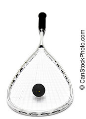 squash racket and ball over white background