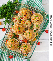 Squash stuffed with vegetables and meat. Top view