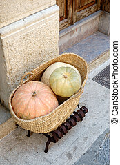 squashes - Squashes in a basket outside a cafe in Pollensa,...