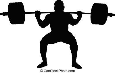 squat, バーベル, powerlifter, 運動選手