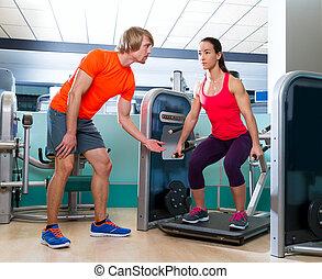 squat, フィットしなさい, ジム, 機械, 女, 試し, 練習