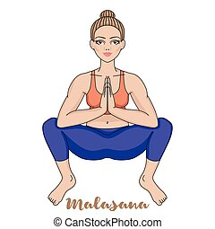 squat, ioga, pose., silhouette., malasana, mulheres