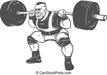squat powerlifting man - powerlifting squat figure on...