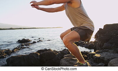 Squats exercise by fitness athlete man on beach - Squats ...