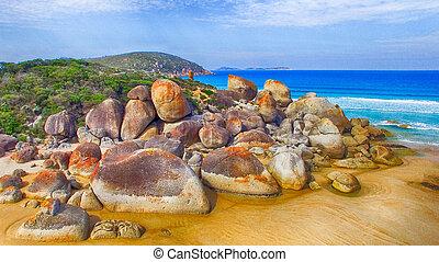 Squeaky Beach in Wilsons Promontory, Australia. Aeruial...
