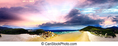 Squeaky Beach, Wilsons Promontory. Aerial panoramic sunset view