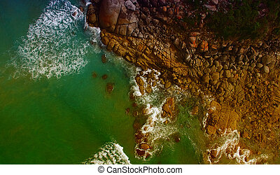 squeaky, playa, vista aérea, wilsons, promontorio