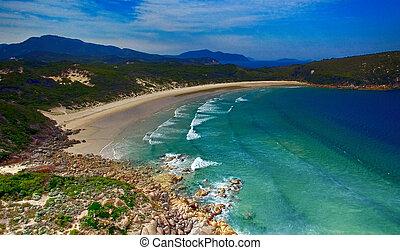 squeaky, promontorio, vista, wilsons, aéreo, playa