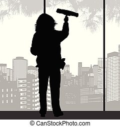 squeegee, fenêtre, femme, silhouette, nettoyage