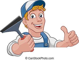 squeegee, nettoyeur, lavage voiture, nettoyage fenêtre, dessin animé