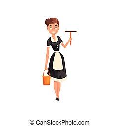 squeegee, porter, service, tablier, classique, caractère, illustration, uniforme, bonne, vecteur, noir, seau, tenue, bonne, sourire, robe, blanc, nettoyage