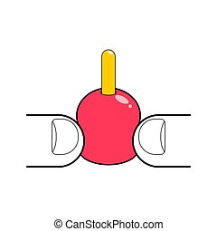 Squeezing pimple isolated. popping Acne. vector illustration